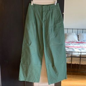 Uniqlo high-waist wide leg olive chino trousers